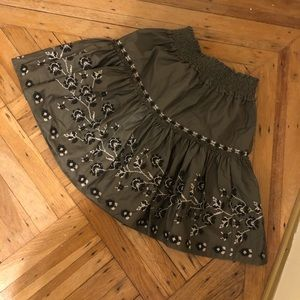 Kate spade olive green embroidered skirt size 4